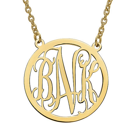 Personalized 32mm Circle Monogram Pendant Necklace, One Size , Yellow