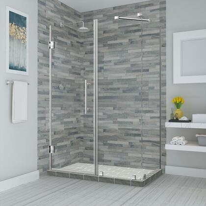 SEN967EZ-SS-663034-10 Bromley 65.25 to 66.25 x 34.375 x 72 Frameless Corner Hinged Shower Enclosure in Stainless