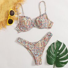Ditsy Floral High Cut Bikini Swimsuit