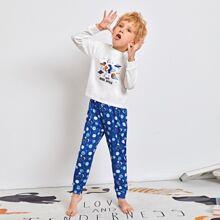 Schlafanzug Set mit Galaxie & Buchstaben Grafik