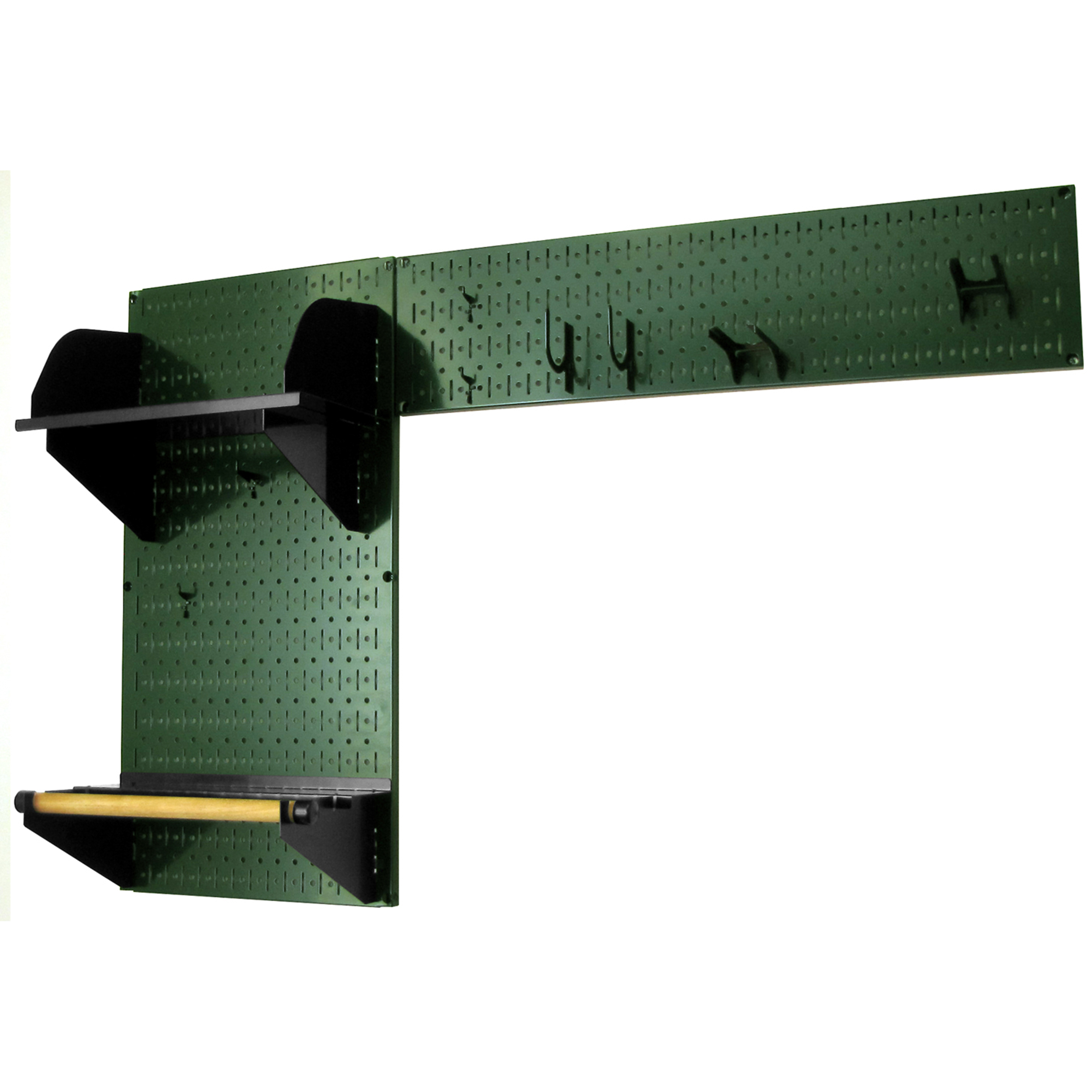 Pegboard Garden Tool Board Organizer with Green Pegboard and Black Accessories
