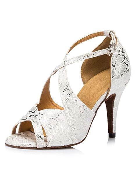 Milanoo Danza de las mujeres zapatos de plata cruzado Peep tacones baile
