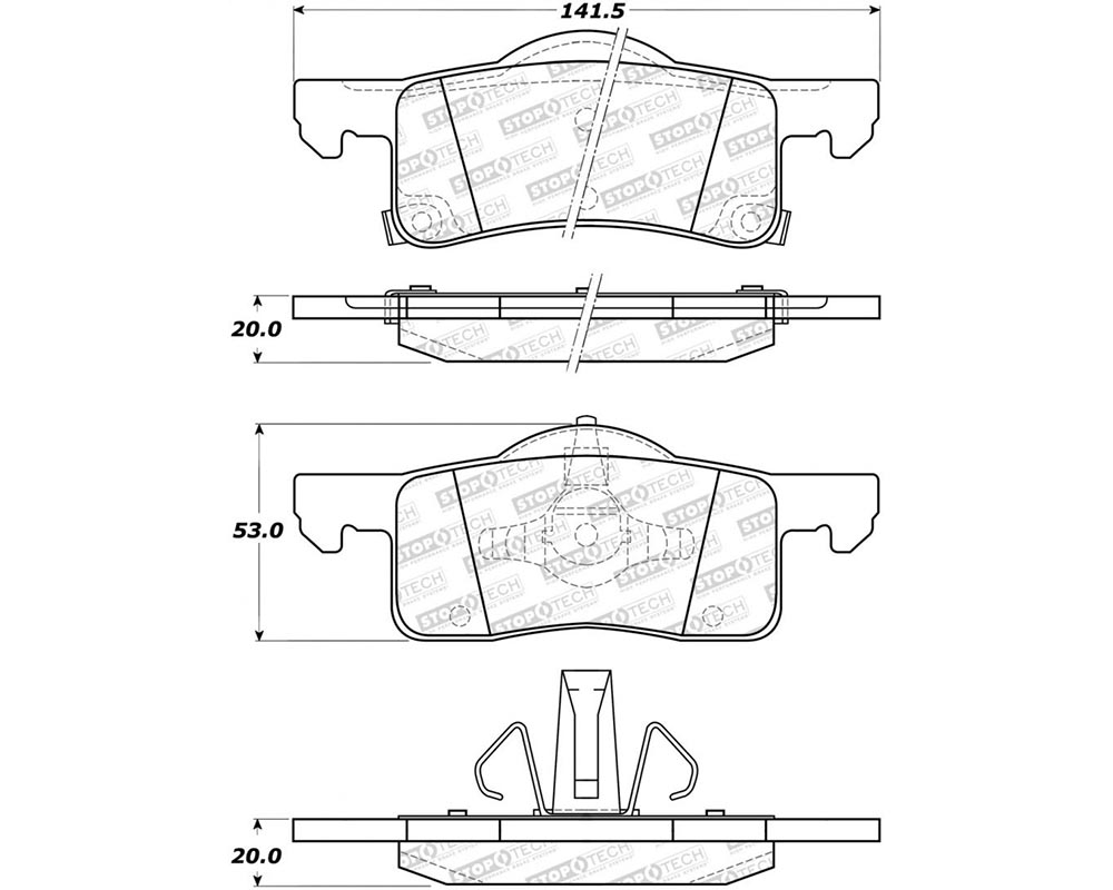StopTech 308.0935 Street Brake Pads with Shims/Hardware Rear