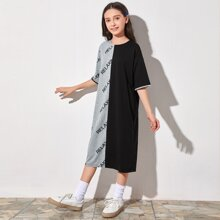 Girls Letter Graphic Colorblock Dress