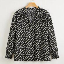 Blusas Extra Grandes Drapeado floral de margarita Casual