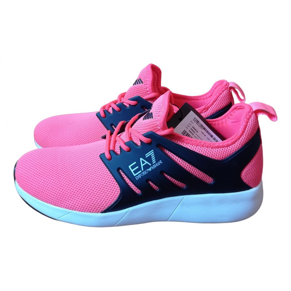 Emporio Armani - Baskets   pour femme en toile - rose