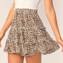 Falda de patinador ribete fruncido a capas con estampado de leopardo