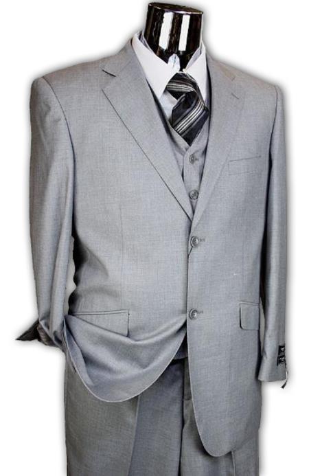 3 Piece 2 Button Light Grey Italian Designer Suit Mens