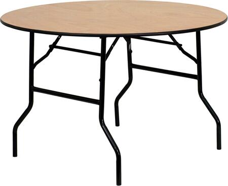 YT-WRFT48-TBL-GG 48'' Round Wood Folding Banquet Table with Clear Coated Finished