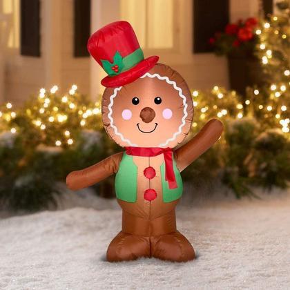 Gingerbread Man gonflable de Noël LED avec Santa Hat Airblown Decoration 4ft