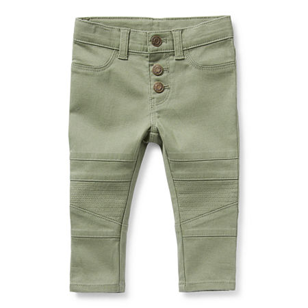 Okie Dokie Moto Baby Girls Mid Rise Skinny Pull-On Pants, 9 Months , Green
