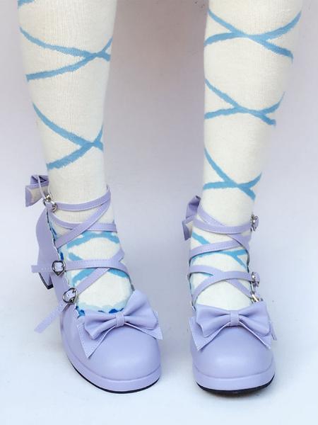 Milanoo Purple Lolita Shoes Cross Strap Chunky Heel Bow Sweet Lolita Pumps Shoes