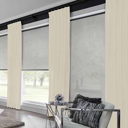 Bali Coastal Custom Light-Filtering Pinch-Pleat Single Curtain Panel, One Size , Beige
