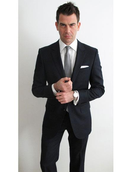 Mens black suit white shirt grey tie 2button notch side vented SlimFit