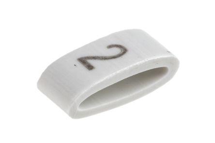 HellermannTyton HODS85 Slide On Cable Marker, Pre-printed 2 Black on White 1.8 → 6.3mm Dia. Range