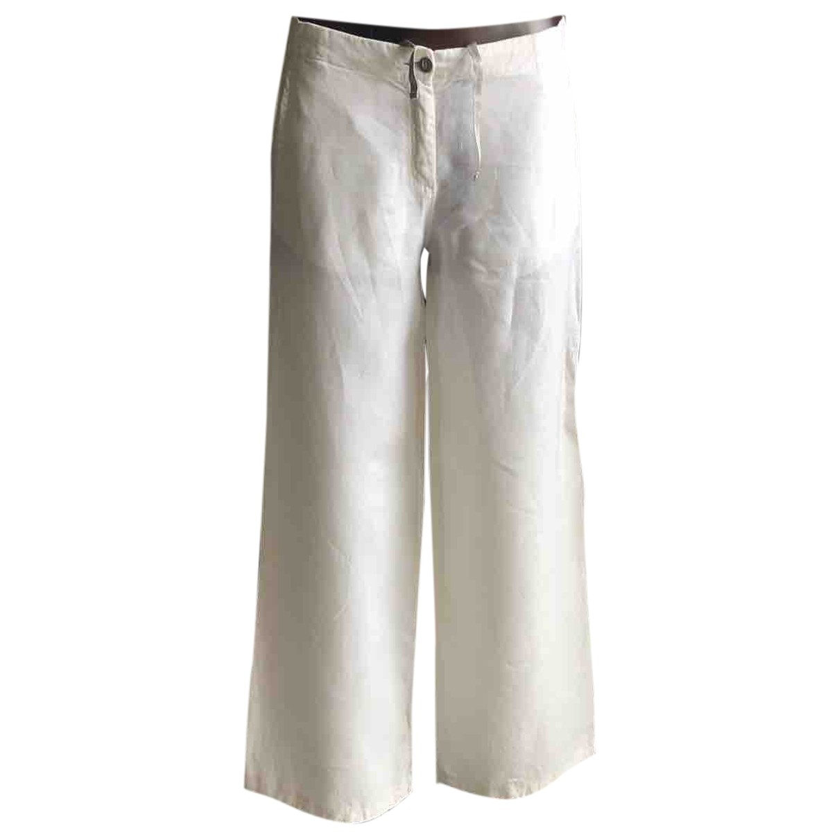 Cp Company \N White Cotton Trousers for Women 40 IT