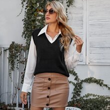 V Neck Solid Sweater Vest Without Blouse