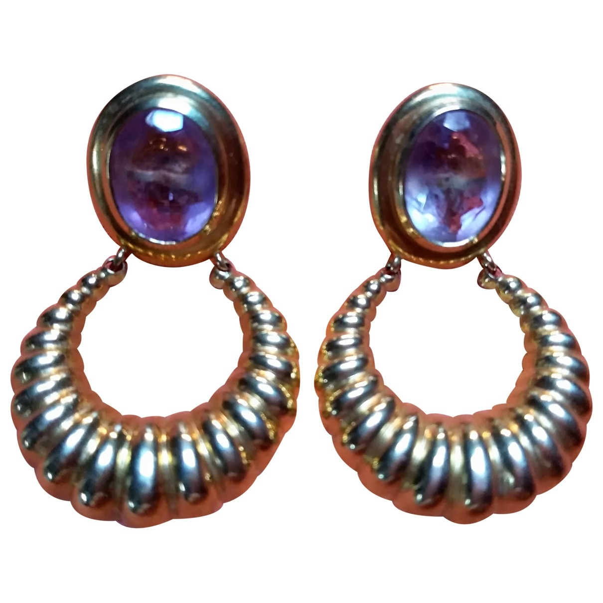 Non Signé / Unsigned Améthyste Purple Yellow gold Earrings for Women \N