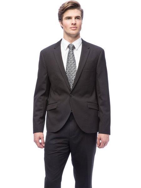 West End Black 2 Piece Mens 1 Button Solid Peak Lapel Slim Fit Suit