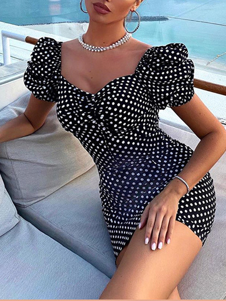 Yoins Polka Dot Puff Sleeves V-neck Mini Dress