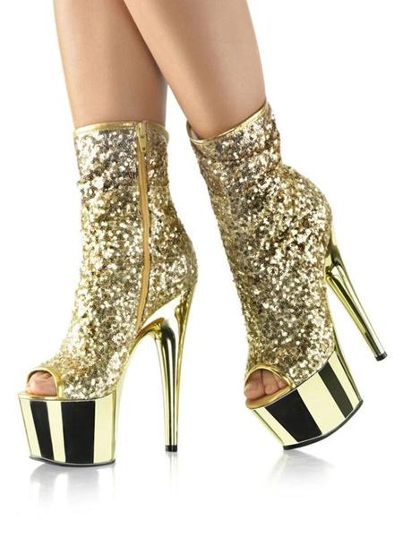 Milanoo Sexy High Heel Boots Peep Toe Lace Up Zipper Stiletto Heel Rave Club Blond Ankle High Platform Boots