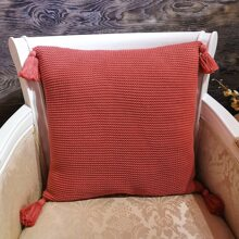 Tassel Decor Knitted Cushion Cover Without Filler