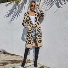 Leopard Print Open Front Long Cardigan