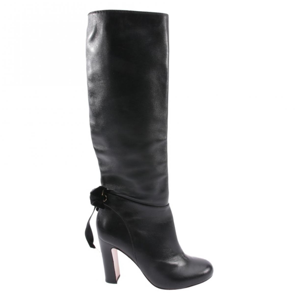 Valentino Garavani \N Black Leather Boots for Women 40.5 EU