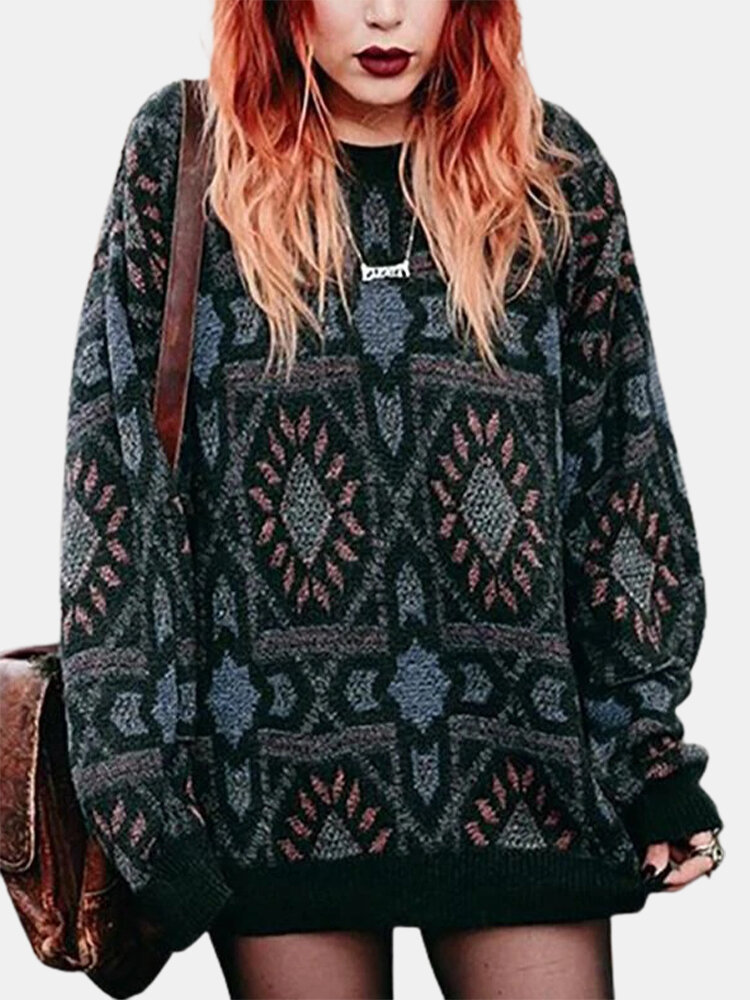 Ethnic Print O-neck Long Sleeve Casual Plus Size Sweater