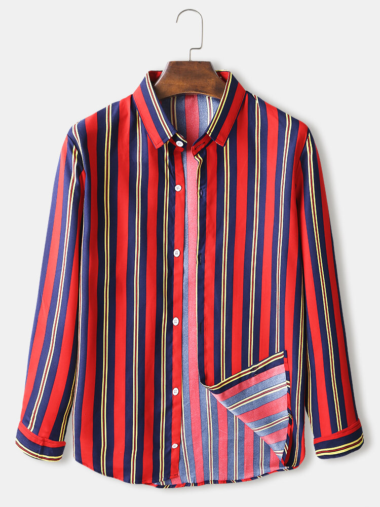 Mens Multi-Color Striped Print Casual Loose Fit Long Sleeve Shirts