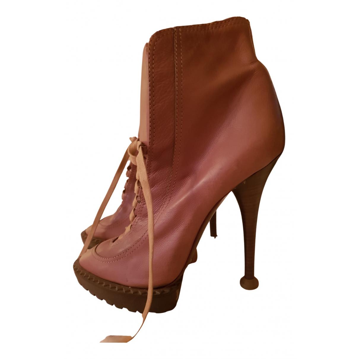 Kenzo - Boots   pour femme en cuir - marron