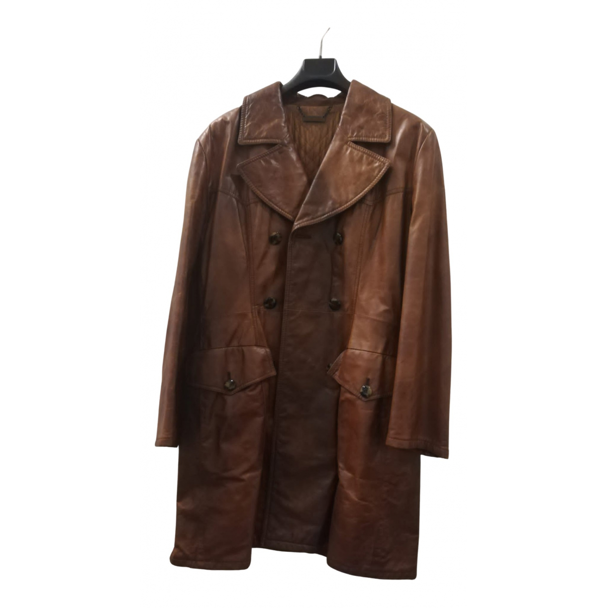 Non Signé / Unsigned N Brown Leather coat for Women 40 FR
