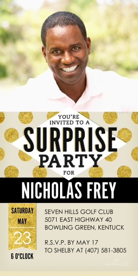 Birthday Party Invites 4x8 Flat Card Set, 85lb, Card & Stationery -Surprise Gold Dots Photo