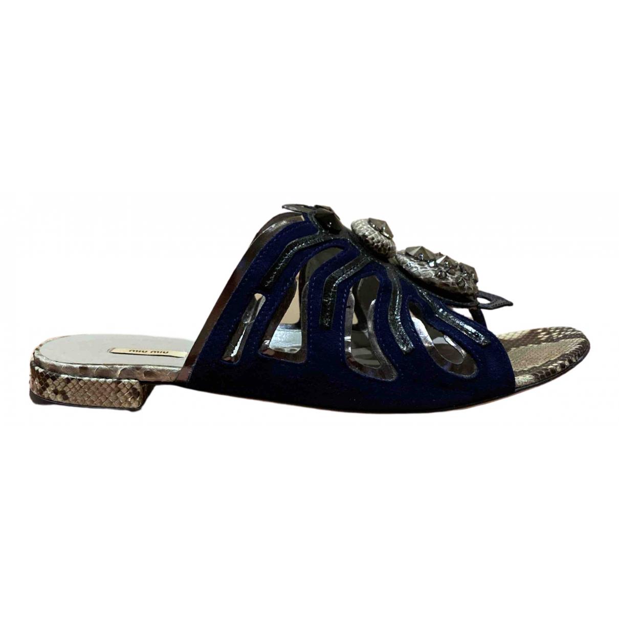 Miu Miu - Sandales   pour femme en suede - bleu