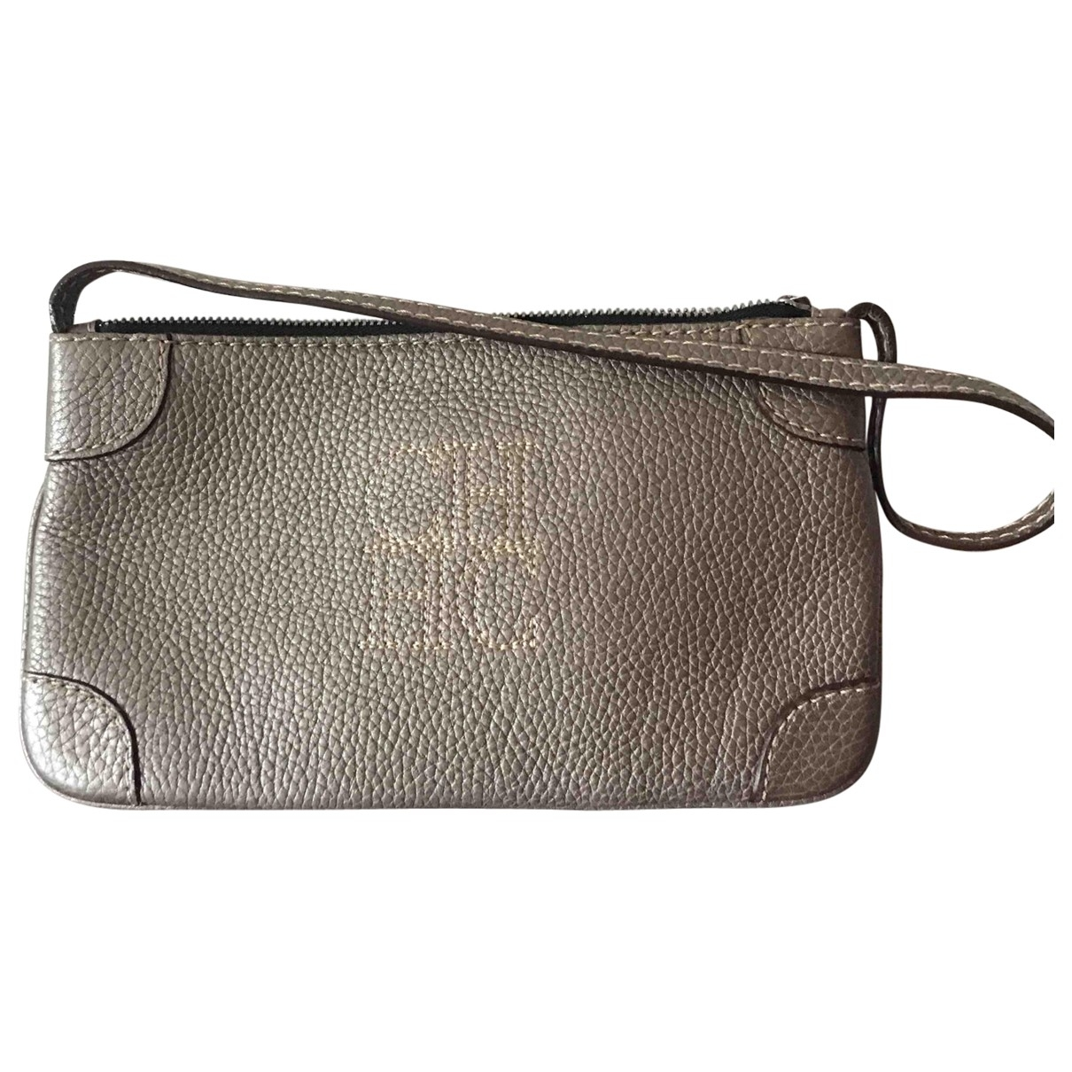 Carolina Herrera \N Clutch in  Grau Leder