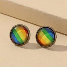 Men Colorful Stud Earrings