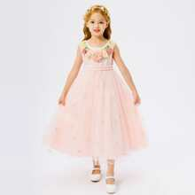 Toddler Girls Appliques Embroidery Tie Back Tutu Dress