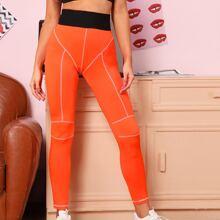 Neon Orange Contrast Stitch Leggings