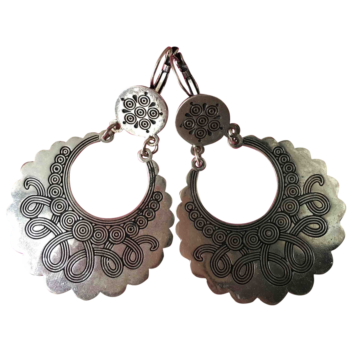 Non Signé / Unsigned Motifs Ethniques Silver Silver Plated Earrings for Women \N