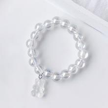 Bear Charm Clear Beaded Bracelet