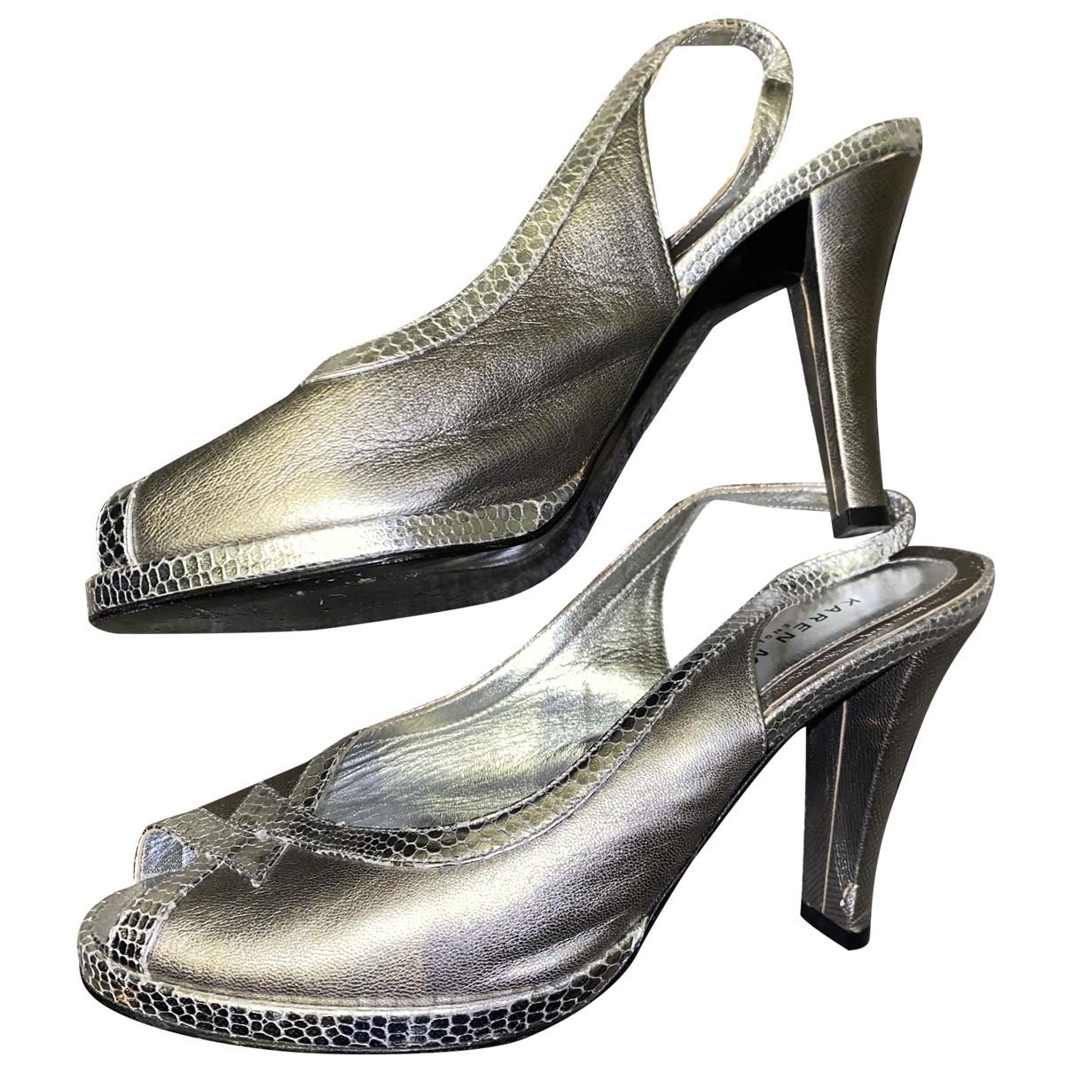 Karen Millen \N Silver Leather Heels for Women 37.5 EU
