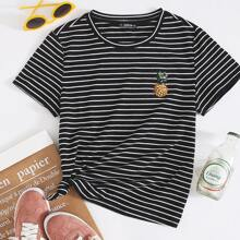 Plus Pineapple Embroidered Striped Tee