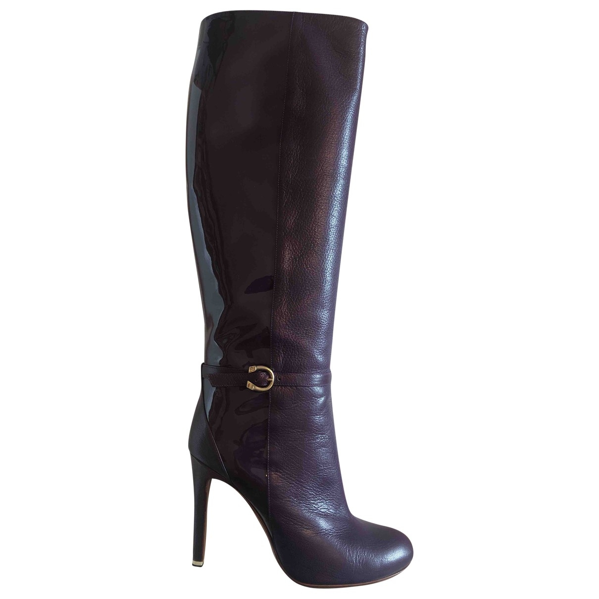 Non Signé / Unsigned \N Purple Leather Boots for Women 37 EU