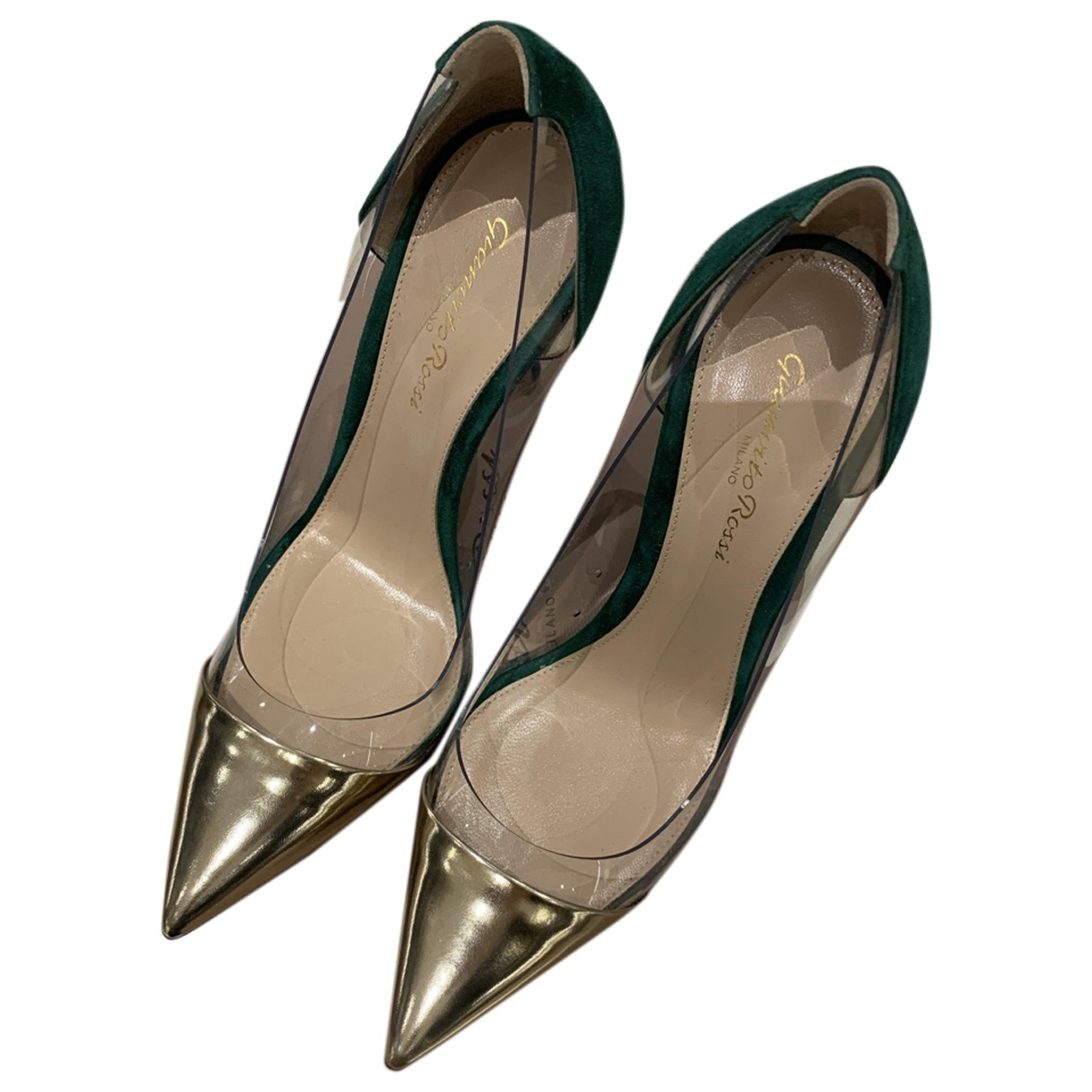 Gianvito Rossi Plexi Green Suede Heels for Women 37 EU