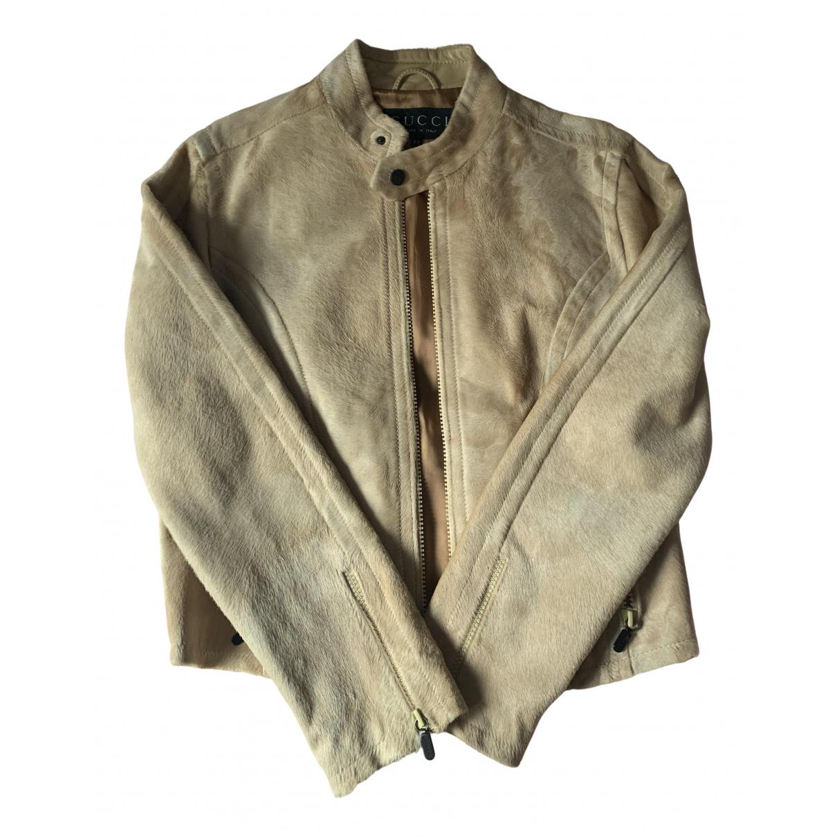 Gucci - Veste   pour femme en cuir - beige