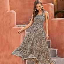 Vestido de tirante con nudo fruncido con estampado de leopardo