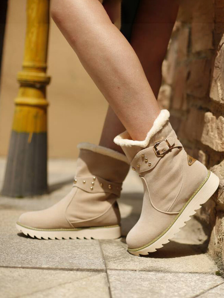 Women Solid Color Suede Buckle Casual Warm Winter Snow Short Boots