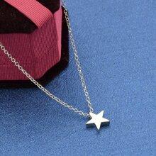 Silver Model Metal Star Pendant Necklace