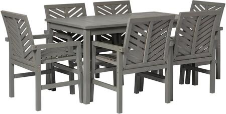 OW7DGVINGW 7-Piece Chevron Outdoor Patio Dining Set in Grey