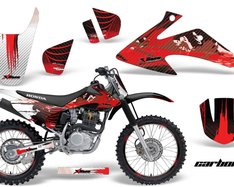 AMR Racing Graphics MX-NP-HON-CRF150-CRF230F-08-14-CX R Kit Decal Wrap + # Plates For Honda CRF150 | CRF230F 2008-2014áCARBONX RED